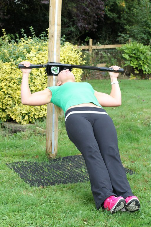 Inverted Row Wide Grip With Fitness Tree On Rubber Grass Mat