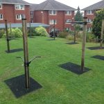 Rubber Grass Mats Under Fitness Trees