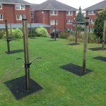 Rubber Grass Mats Under Fitness Trees