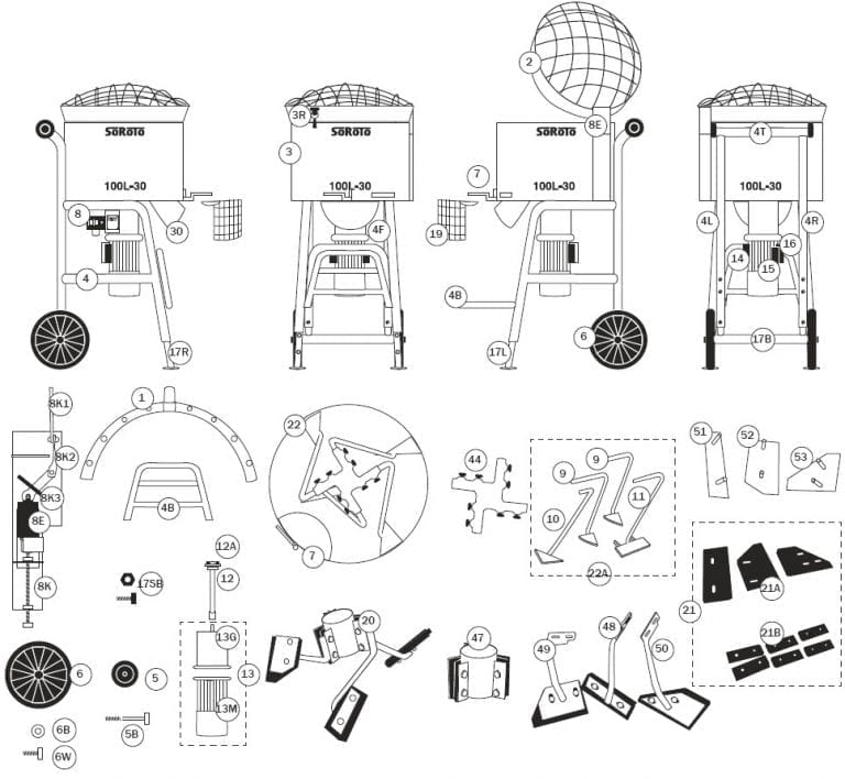 SoRoTo 100L Forced Action Mixer Spare Parts Diagram