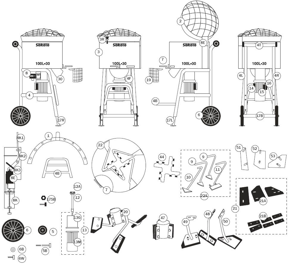 SoRoTo 100L Forced Action Mixer Spare Parts