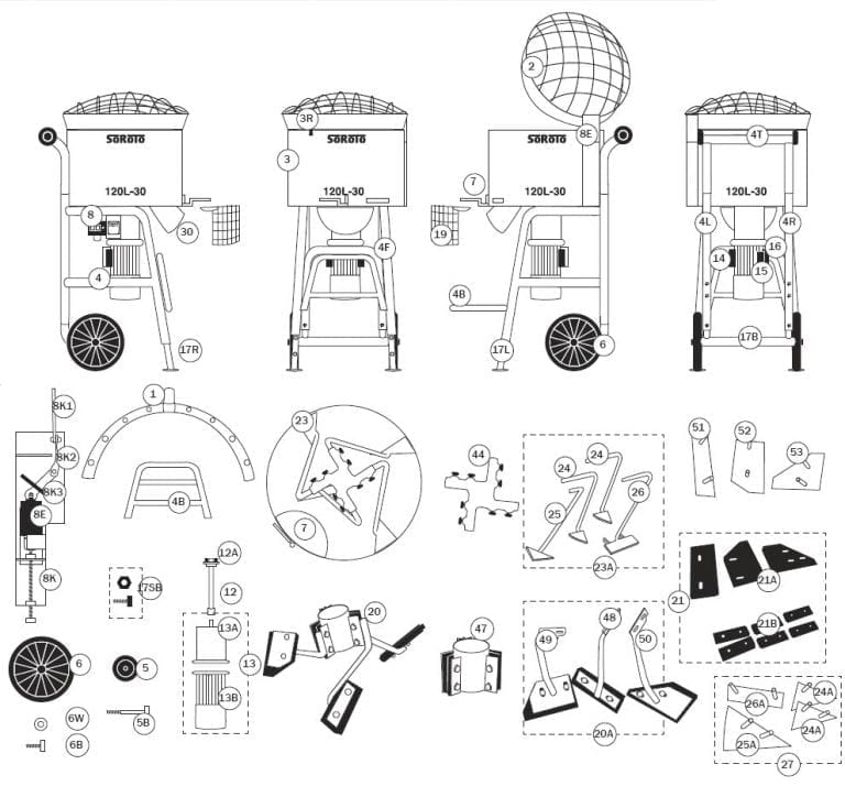 SoRoTo 120L Forced Action Mixer Spare Parts Diagram