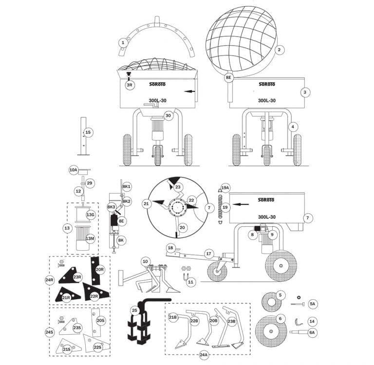 SoRoTo 300L Forced Action Mixer Spare Parts Diagram