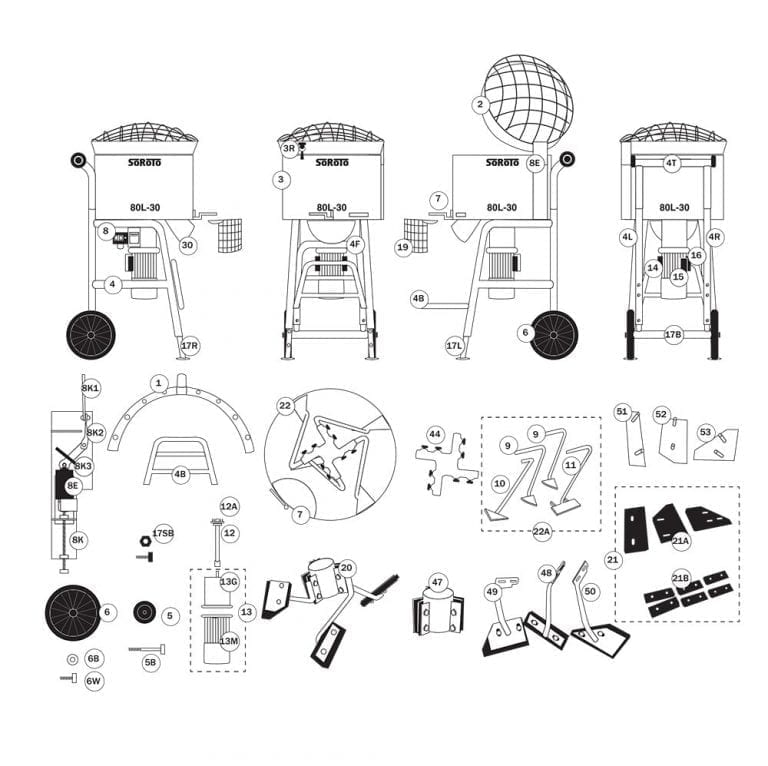 SoRoTo 80L Forced Action Mixer Spare Parts Diagram