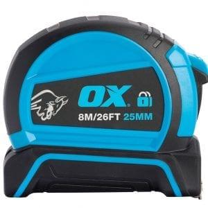 OX Pro Dual Auto Lock Tape Measure - 8m